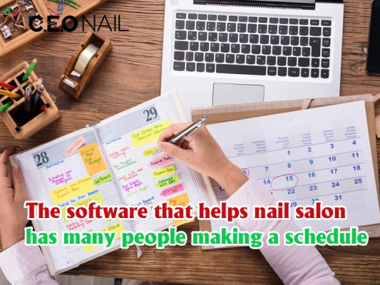 The software that helps nail salon has many people making a schedule