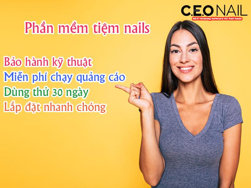 Phần mềm tiệm nails bảo hành kỹ thuật miễn phí chạy quảng cáo, dùng thử 30 ngày và lắp đặt nhanh chóng